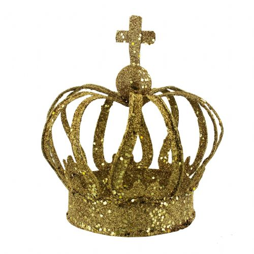 Golden Glitter Crown Christmas Decoration and Centerpiece - Christmas Crown Ornament